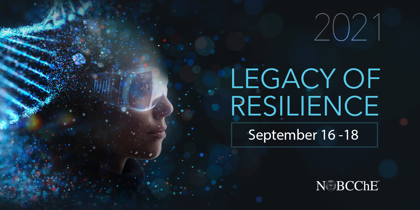 "Dark blue background. A light blue helix made of dots is on the left just behind the side view of a woman's face wearing goggles. Around those items are dots of varying sizes in shades of blue and green.  On the right in grey, blue and white text are the the conference dates and theme. From the top ""2021,"" next line ""Legacy of,"" next line ""Resilience,"" next line in a box September 16 - 18."""